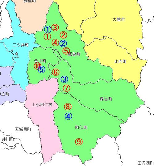 北秋田市小中学校分布図